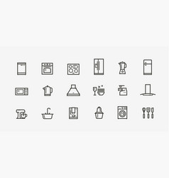 kitchen appliances icon set household electronics vector image