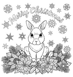 Merry christmas coloring page with rabbit vector