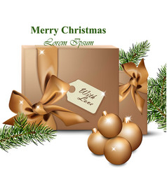 merry christmas with gold gift boxes winter vector image