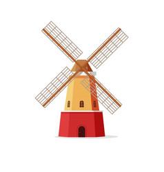 Mill flat cartoon windmill vector