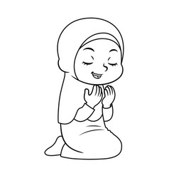 Moslem girl hajj praying bw vector
