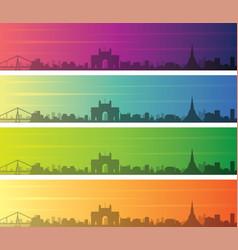 mumbai multiple color gradient skyline banner vector image