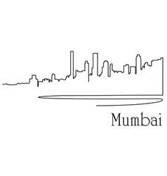 Mumbaj city one line drawing vector