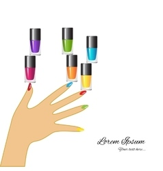 Nail polish Woman hand with applying a varnish on vector