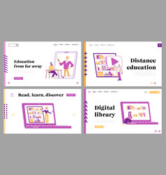 online library landing page template set people vector image