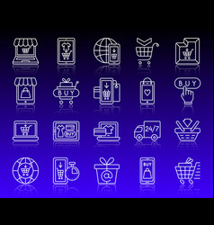 Online shop simple white line icons set vector