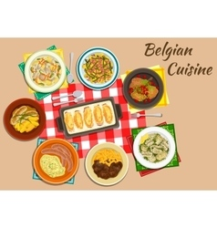 Original dishes of belgian cuisine vector