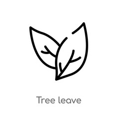 Outline tree leave icon isolated black simple vector