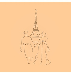 paris couple vector image