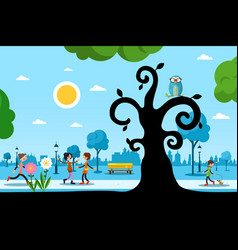 park with trees and people day in city vector image