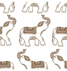 pattern with hand drawn elephants vector image