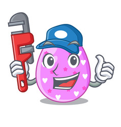 Plumber color the easter eggs isolated mascot vector