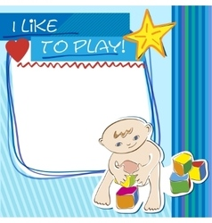 Postcard small child playing with blocks vector