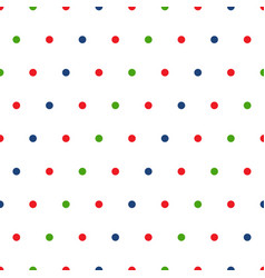 red green blue polka dots on white background vector image