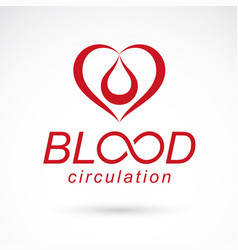 Red heart with blood circulation inscription vector