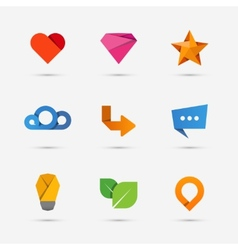 Set of modern flat paper icons or logo elements vector