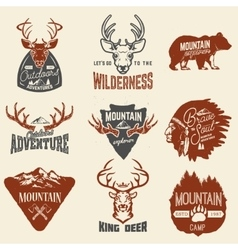 Set of outdoors adventures mountains exploration vector