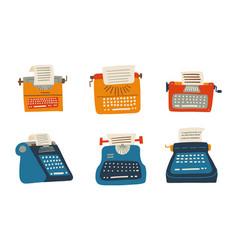 set typewriter old vintage keyboard machine vector image