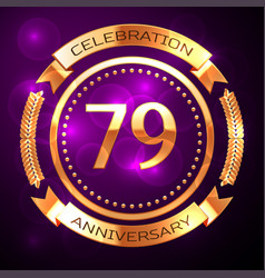 seventy nine years anniversary celebration with vector image