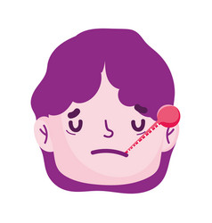 Sick man face cartoon thermometer fever symptoms vector