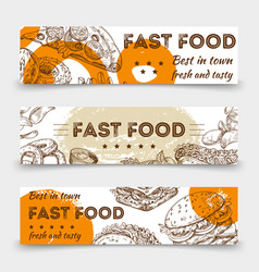 sketched fast food banners template design vector image