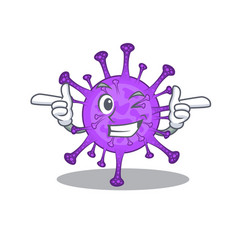 Smiley bovine coronavirus cartoon showing wink eye vector