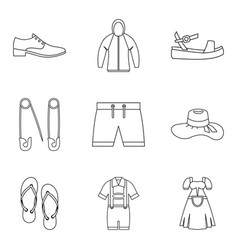 summer clothes icon set outline style vector image