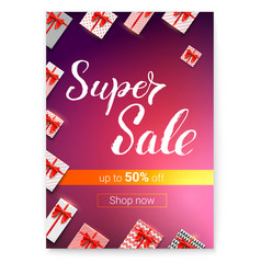 super sale with lots of gifts gift boxes with red vector image