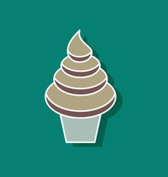 Sweet dessert in paper sticker ice cream cone vector