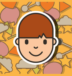 teenager guy face over social media background vector image