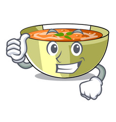 Thumbs up cartoon lentil soup ready to served vector