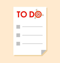 to do list with dart instead of letter o vector image