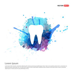 Tooth icon - watercolor background vector