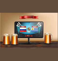 tv screen with football match realistic vector image
