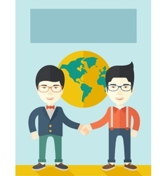 Two chinese guys happily handshaking vector