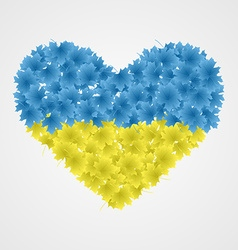 Ukrainian flag of leaf in the shape of heart vector image