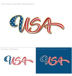 USA flag caligraphic text vector