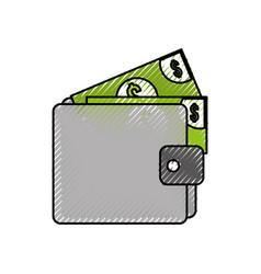 wallet money banknote dollar cash pay vector image