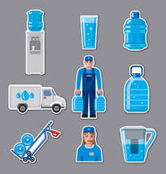 Water delivery service stickers vector