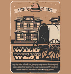 Wild west western saloon and cowboy carriage vector