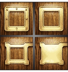 wood and gold background set vector image