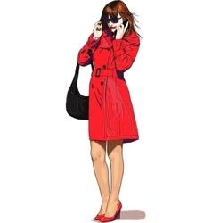 girl speak mobile vector image