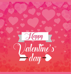 happy valentines day card greeting falling hearts vector image