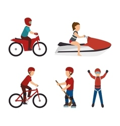 set extreme sports design isolated vector image