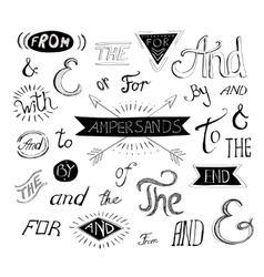 Vintage style hand lettered ampersands and vector image