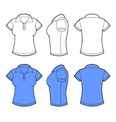 Women Polo Shirt Template Front back and side vector image vector image