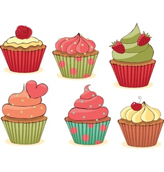 yummy cupcakes vector image vector image
