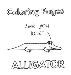 Cartoon alligator coloring book vector