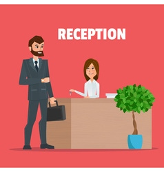 Customer receives a businessman the key reception vector image