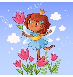 Cute little girl on a flower vector image vector image